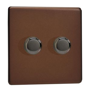 View Varilight 2-Gang 2-Way Mocha Double Dimmer Switch details