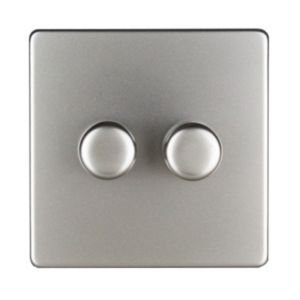 Varilight 2-Way Double Satin Silver Effect Dimmer Switch