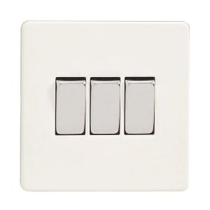 Image of Varilight 10A 2-Way Ice White Triple Light Switch