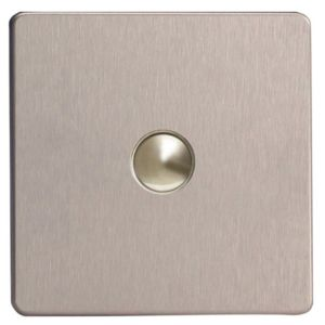 View Varilight 1-Gang 1-Way Stainless Steel Effect Single Push Light Switch details