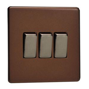 Image of Varilight 10A 2-Way Mocha Triple Light Switch