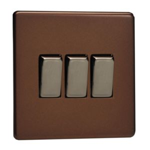 View Varilight 3-Gang 2-Way 10A Mocha Triple Light Switch details