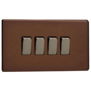 Image of Varilight 10A 2-Way Mocha Quadruple Light Switch