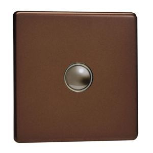 View Varilight 1-Gang 2-Way 6A Mocha Single Push Light Switch details