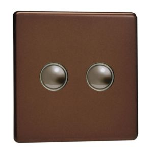 Image of Varilight 6A 2-Way Double Mocha Double Push Light Switch