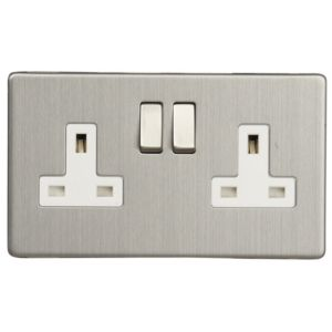 View Varilight 13A 2-Gang Brushed Steel Effect Switched Socket details