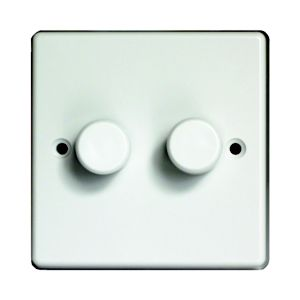 View Varilight White 2-Gang Push On/Off with Rotary Dimming 400W Dimmer Switch details