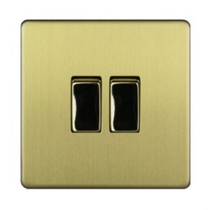 Varilight 10A 2-Way Double Brushed Gold Effect Light Switch