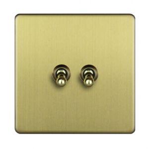 Image of Varilight 10A 2 way Brass effect Single Toggle Switch
