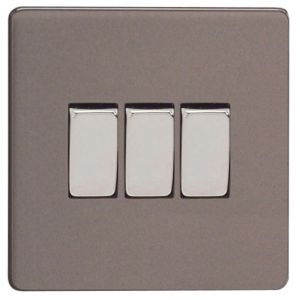 View Varilight 3-Gang 2-Way 10A Slate Grey Triple Switch details