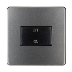 Image of Varilight 10A 1-Way Single Slate Grey Satin Fan Isolator Switch