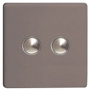 View Varilight 3-Gang 2-Way 6A Slate Grey Double Push Light Switch details