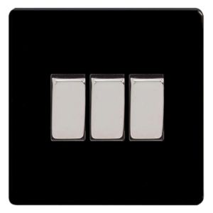 View Varilight 3-Gang 2-Way 10A Jet Black Triple Light Switch details