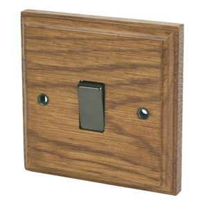 Image of Varilight 10A 2 way Brown Oak effect Single Light Switch