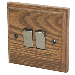 Image of Varilight 10A 2 way Brown Oak effect Double Light Switch