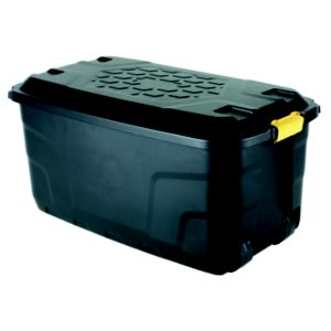 View Strata Black 145 L Plastic Storage Box On Wheels details