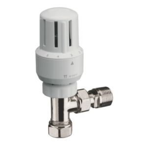 View Pegler Yorkshire White & Chrome Effect Angled Thermostatic Radiator Valve & Lockshield Set details