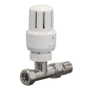 View Pegler Yorkshire White & Chrome Effect Straight Thermostatic Radiator Valve details