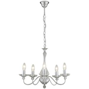 View Lisa Chrome Effect 5 Lamp Pendant Ceiling Light details