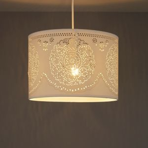 Image of Ivory Doily cylinder Light shade (D)300mm