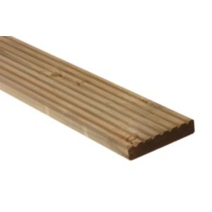 View Premium Grooved Green Softwood Deck Board (W)144mm (L)3600mm (T)28mm details