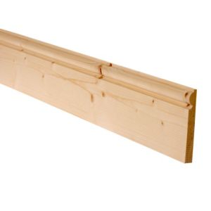 View Unfinished Pine Torus Skirting (L)2400mm (W)169mm (T)15mm, Pack of 4 details