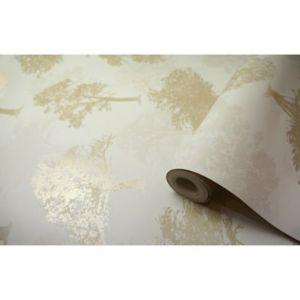 Image of K2 Glitter Forest Gold Tree Glitter Wallpaper