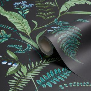 Image of K2 Fern & flowers Green Floral Wallpaper