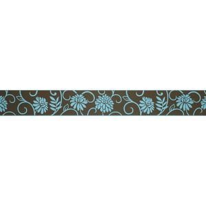 View Abigail Chocolate & Teal Floral Border details