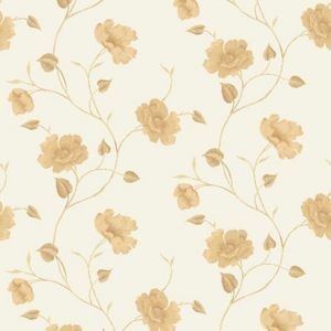 View Bella Trail Floral Cream Vinyl Wallpaper details