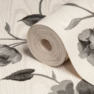 View Bella Trail Floral Black & Cream Vinyl Wallpaper details