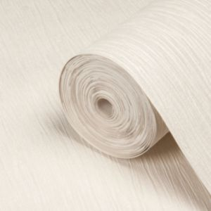 View Loretta Plain Cream Vinyl Wallpaper details