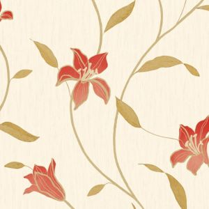 View Loretta Trail Floral Red Vinyl Wallpaper details