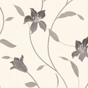 View Loretta Trail Floral Black Vinyl Wallpaper details