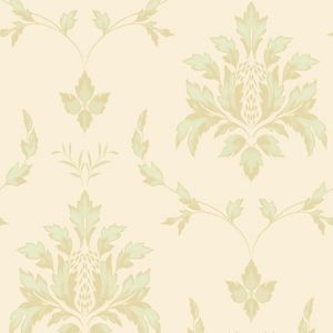 View Olivia Damask Pale Green Vinyl Wallpaper details