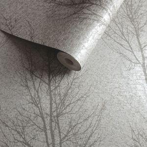 Image of Opus Grey Tree Metallic Wallpaper