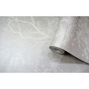 Image of Holden Olea Grey Floral Glitter effect Wallpaper