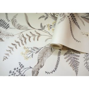 Image of Statement Canna Grey & yellow Floral Wallpaper