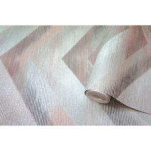 Image of Holden Dancette Grey & pink Geometric Metallic effect Wallpaper