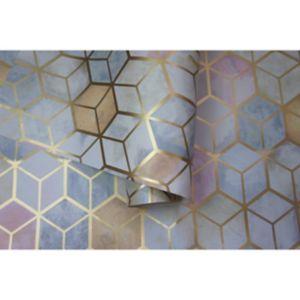 Image of Statement Mineral Geometric Metallic effect Wallpaper