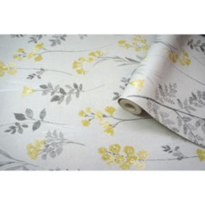 Image of Statement Farley Grey & yellow Floral Wallpaper