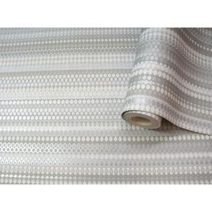 Image of Statement Machelle Grey Geometric Metallic effect Wallpaper