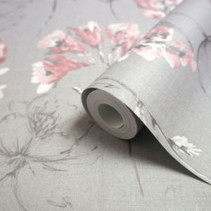 Image of Holden Grey & pink Floral Wallpaper