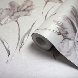 Image of Holden Grey & heather Floral Wallpaper
