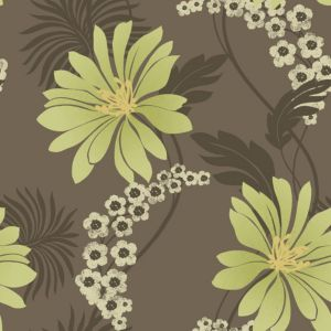 View Tahiti Brown & Green Floral Wallpaper details
