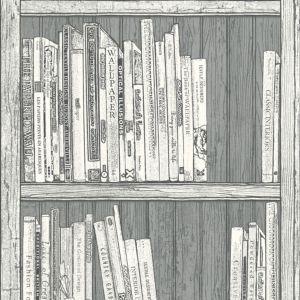 bookcase grey white wallpaper departments diy at b q. Black Bedroom Furniture Sets. Home Design Ideas