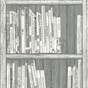 View Statement Bookcase Grey & White Wallpaper details