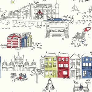 View Brighton Quirky Illustrations Blue, Red, Yellow & White Metallic Effect Wallpaper details