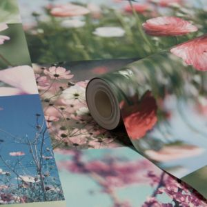 Image of Holden décor April Pink & blue Floral Wallpaper