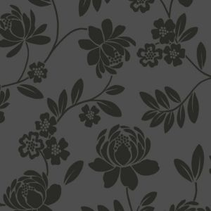 View Kristen Floral Black Flock Wallpaper details